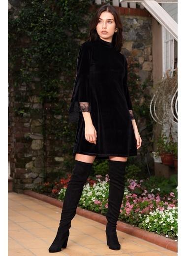 İroni Kolları Volanlı Kadife Tunik Siyah